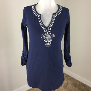 Lilly Pulitzer XS Navy Blue  Embroidered tunic